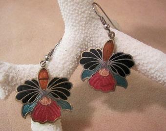 Orchid Cloisonne Orchid Earrings Vintage