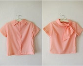 RESERVED 50's Pastel Peach Bow Neck Blouse / Marilyn Monroe Top / Spring Top