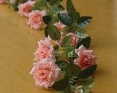 Wedding garland length is about 95 cm. Artificial silk flower. Peach rose garland.