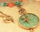 Aqua, Teal and Orange Starfish Necklace N22 On Sale Now 30% Off