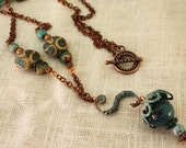 Aqua  Blue Torch Fired Enamel and Copper Necklace with Lampwork Beads N13 SALE 30% OFF