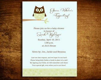 Baby Boy Owl Baby Shower Invitation - set of 20