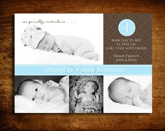 Patchwork Boy Photo Birth Announcement - set of 20