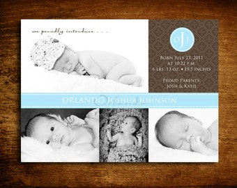 Printable Patchwork Baby Boy Photo Birth Announcement(Digital Image)