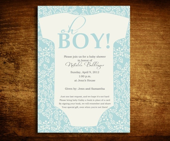 oh boy onesie baby shower invitation and poem card