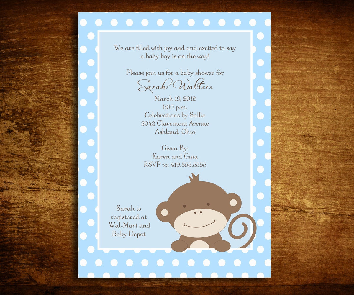 baby boy monkey baby shower invitations  x by sweetcartolina, Baby shower