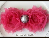 Hot Pink Chiffon Flowers with Pearl and Rhinestone Center on a White Lace Band - Baby, Toddler, Girls, Adult - Spring Headband