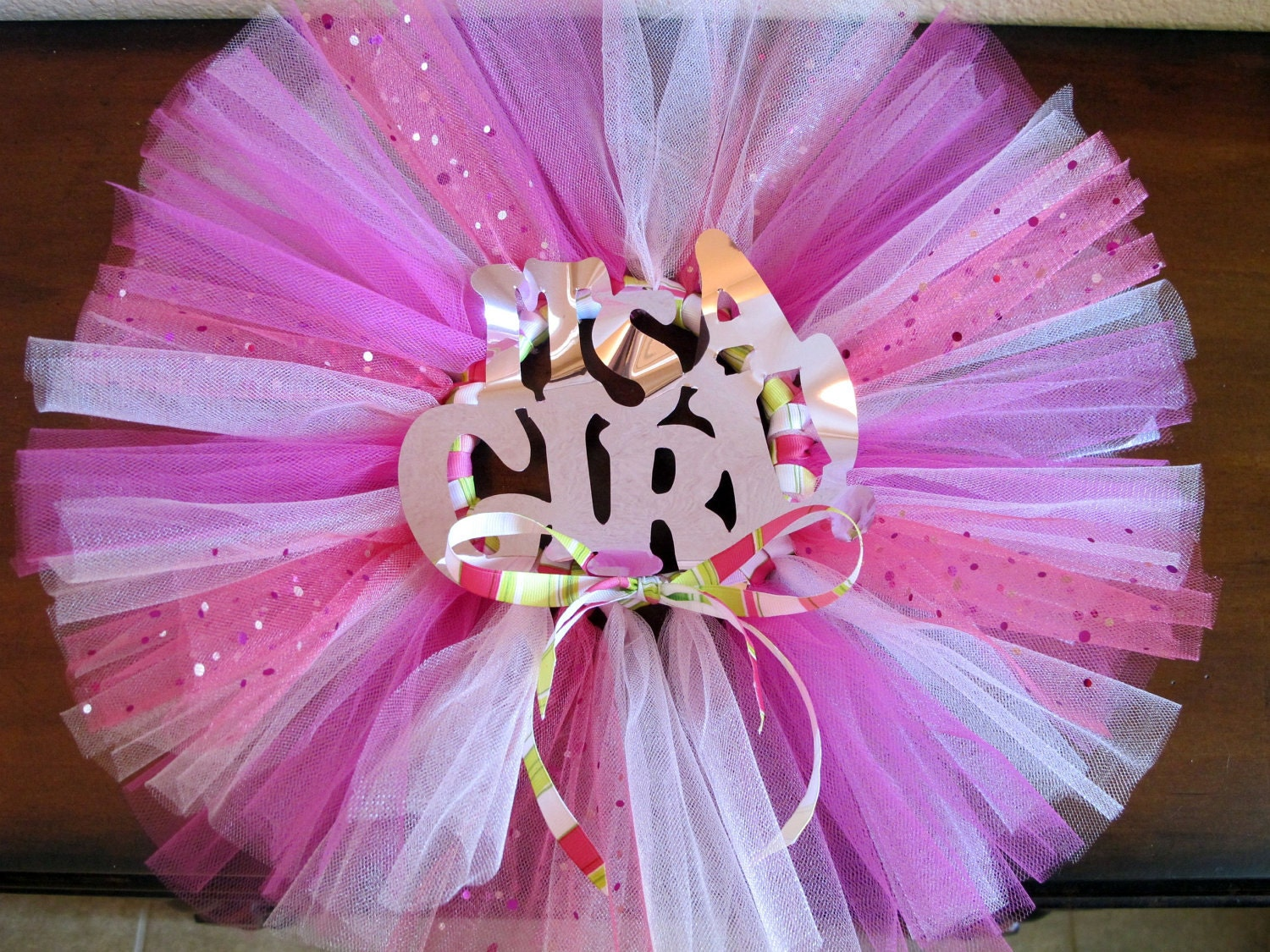 baby shower decoration tutu wreath pink by sprinkledwithsparkle