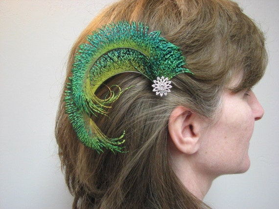 Peacock Sword Feather Hair Clip with Silver Accent Piece and Rhinestone
