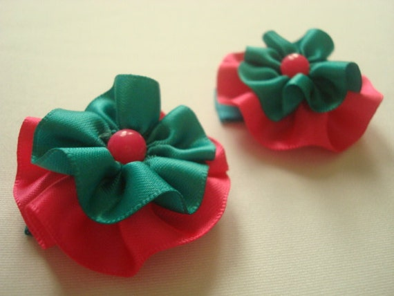 SALE--Girls hair clips-Turquoise and hot pink