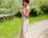 Dreamy Champagne Lace & Silk Wedding Dress with Swarovski hand beading