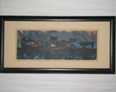 Mid Century Modern Howard Bradford MIDNIGHT PIER serigraph signed and dated