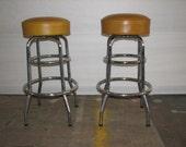 Mid Century Modern Vintage Pair of Bar stools yellow vinyl