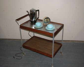 Mid Century Modern aluminum and wood hot tray, heated tea cart