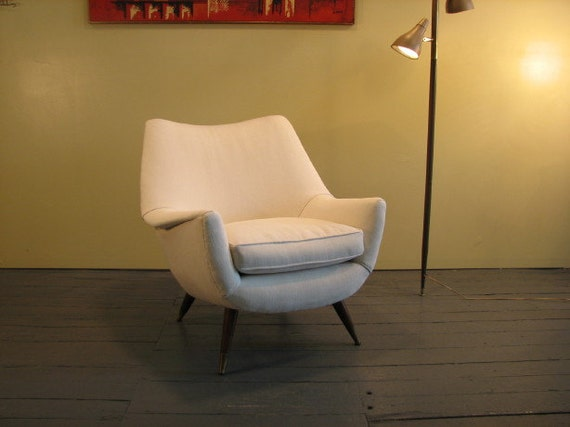 Mid Century Modern upholstered chair  Off white color 50's
