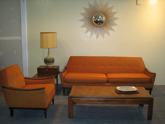 Mid Century Modern, danish, retro, vintage Adrian Pearsall style upholstered couch and chair