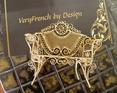 Gold Gilt French Filigree Loveseat, Couch, Display
