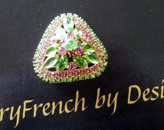 Vintage Juliana Brooch, Green, Pink Rhinestones, Pin