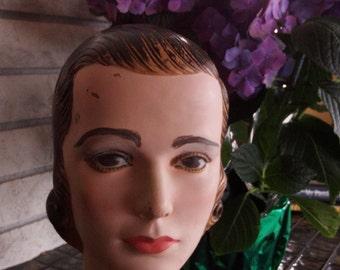 SALE  Vintage French Millinery head, Mannequin, Hat Display, Movie Prop,