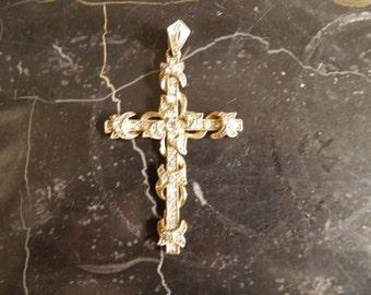 Filigree Rhinestone Cross, Pendant