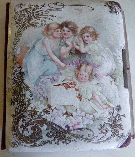 Victorian French Celluloid Picture Album with Image of Children, Angels