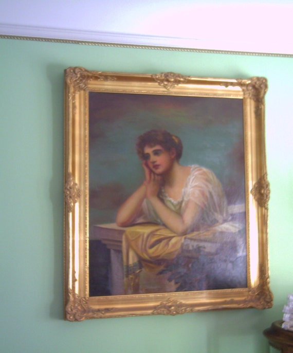 French Paintingof a Beautiful Lady in Gold Gilt Frame