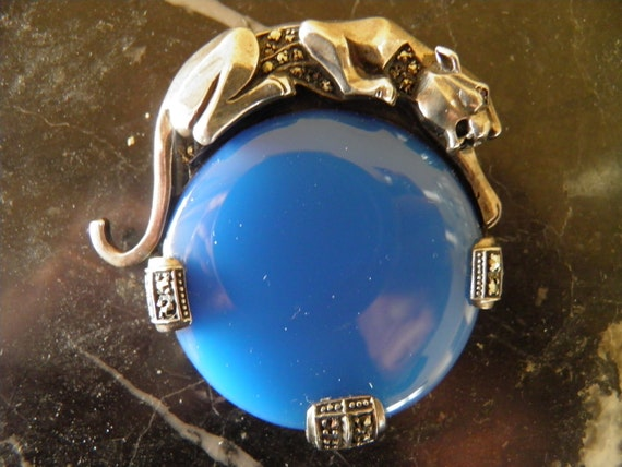 Sterling Panther and Blue Agate, Marcasite Brooch, Leopard