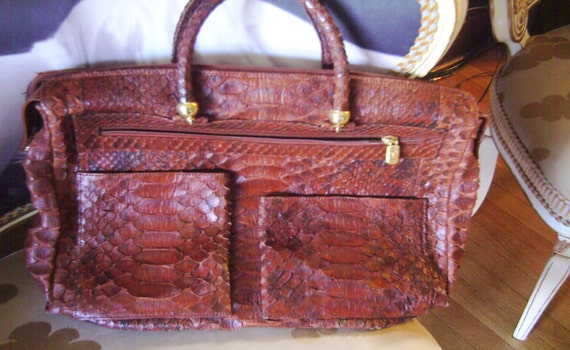 Snakeskin Handbag, Purse, Python Briefcase, Besozzi Franco, Italy, HOLD