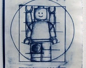 "Cyanotype (Positive) ""The Vitruvian Man"" Lego Commemorative Print"