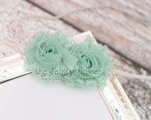 mini grace headband. two mint green shabby chic flower headband.