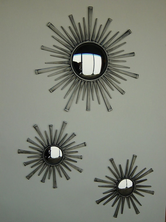 items similar to sunburst mirrors set of 3 handmade convex mirror on etsy. Black Bedroom Furniture Sets. Home Design Ideas