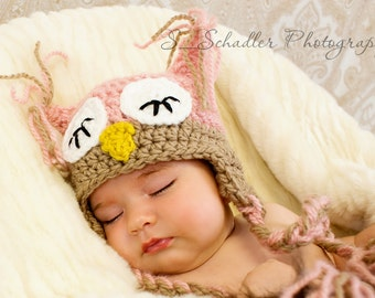 Newborn, Toddler, Child Crochet Pink Owl Hat All Sizes