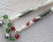 Painted lace bobbins - Mistletoe and Holly on bone