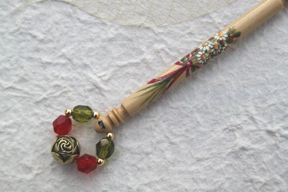 Painted Lace Bobbin - bouquet tied with red ribbon on Boxwood