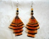 Golden Chandelier Pheasant Feather Earrings