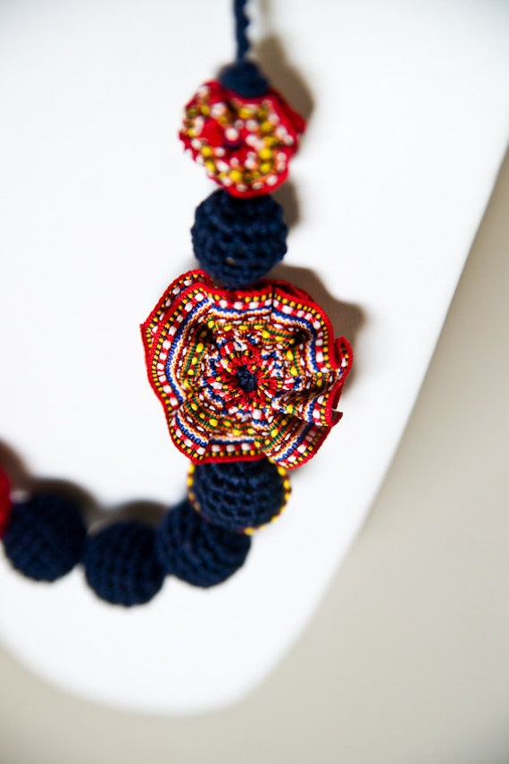 Blue bead necklace - Red and blue bead necklace