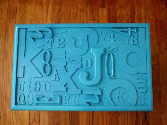 RESERVED - Turquoise Typography Table