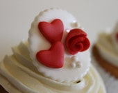 Valentine's Day - Rosette- Hearts - Anniversary - Cookie Toppers - 16 pieces- CustomKsSweets