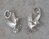 Hummingbird Charm. One silver bird charm.