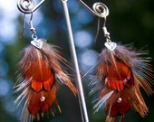 Red Feather Earrings With A Silver Heart, Aurora Borealis Swarovski Crystals Bohemian Hippie Fashion Natural Jewelry Gifts For Her