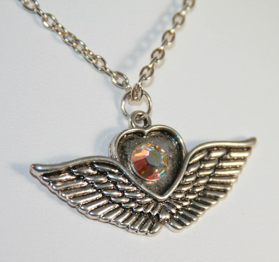Heart Wings Necklace With Aurora Borealis Swarovski Crystal AB Free Shippping US Chain Biker Jewelry