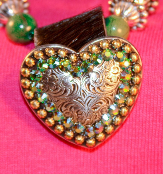 Unakite Heart Concho Necklace Aurora Borealis AB Swarovski Crystal Rodeo Style Chunky Cowgirl Jewelry Western Jewelry Gift For Her Handmade