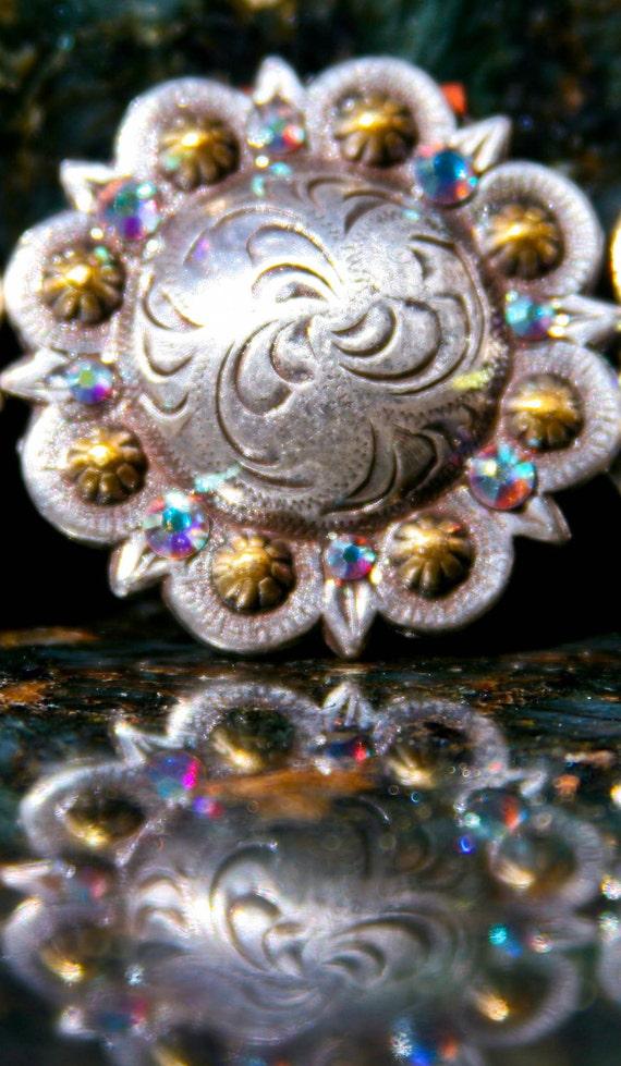 Concho Pendant Rhinestones Aurora Borealis Swarovski Crystals For Necklaces Bridle saddle Purse Or Cowgirl Wedding Rodeo Western Theme