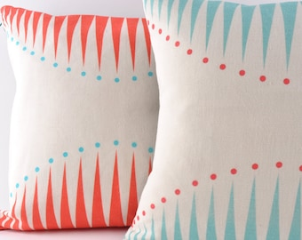 Circus Triangles in Teal cushion cover - pillow  (no insert)