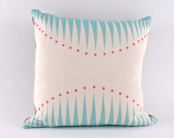 Teal Circus Triangles Cushion - pillow with pad // READY TO SHIP //