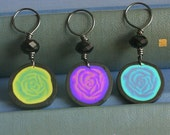 Custom Rose Stitch Markers made with polymer clay set of 5