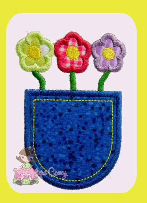 Pocket full of Flowers Satin Applique embroidery design