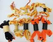 Scarecrow Thanksgiving Decorations Yarn and Vintage Thread Spools, Gift Toppers, Ornaments