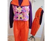 Clown Costume, Orange and Deep Purple ,Three Piece Suit