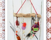 Driftwood Windchime, Yard Art,  Garden Decoration, Mobile of Beads, Baubles and Bottles and Buttons